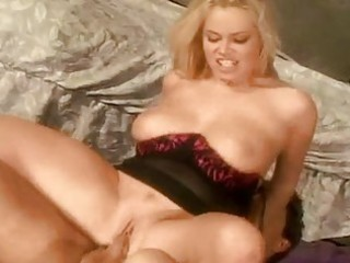 Bootylicious blonde milf with big hooters rides