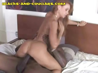 hawt redheaded cougar rides his big darksome cock