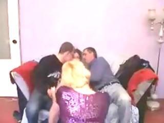 mature broad gets favourable in group bang