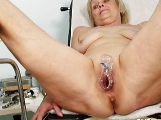ribald blond granny acquires her wet crack gaped