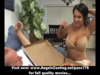 hot latin chick mother i does blowjob for pizza