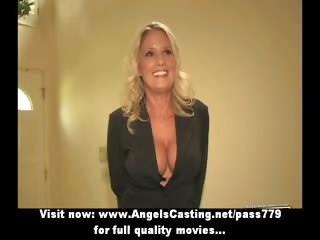 bored blonde milf with laptop undressing and
