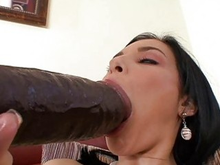 tanned dark brown momma masturbating with large