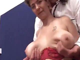 Mature with big saggy tits sucks and gets fucked