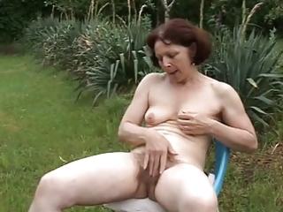 old aged masturbing in garden