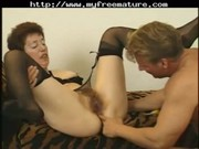 curly mature in nylons copulates another time