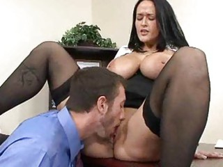 mature busty brunette copulates businessman in