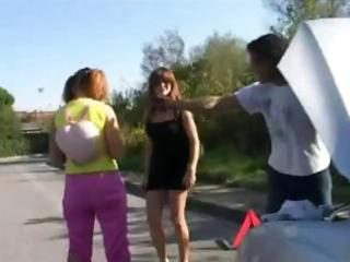 italian mother and daughter break down in car and