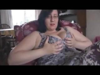 obese aged housewife turns hubby on with her red