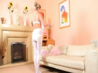 hawt mama in white hose stripping
