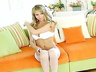 blond teases in stockings panties and heels