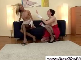 lesbian redhead and blonde used dildos to fuck