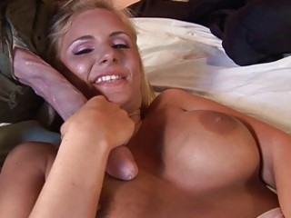 Cute blonde milf does blowjob and is fucked from