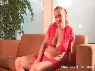 lusty mama teasing body with a banana