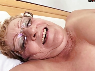 hairy granny in glasses receives bbc