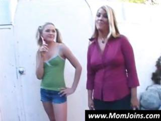 blonde mamma and teen show off trio of their