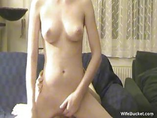 slender blonde wife riding the cock