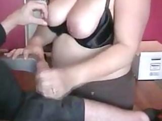 corpulent wife giving fantastic cook jerking to