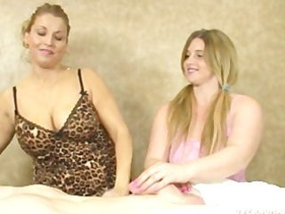 mamma shows her stepdaughter how to stroke a