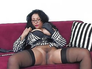 dark brown milf with giant muffins and glasses