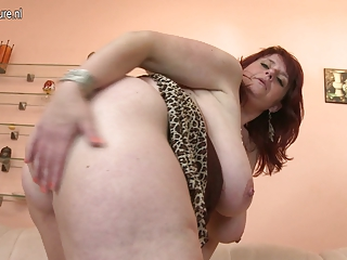 large titted mother gets her pussy moist
