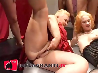 German BBW double fist while group watch
