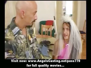 brown haired bride doing oral-job