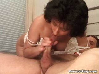 Mature brunette slut gets hairy pussy