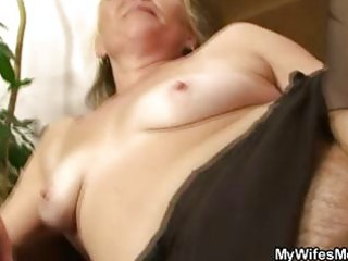 horny granny opens curly muff for hot youthful