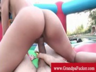 mia lina does reverse cowgirl to grandpa