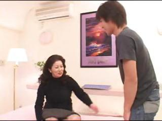Asian milf chizuru iwasaki gets a young boy to