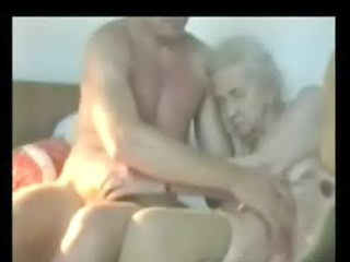 very old granny used by youthful man. real amateur