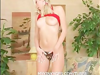 blonde wife at home