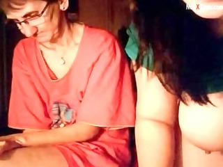 granny and legal age teenager on webcam