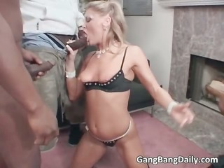 hawt golden-haired playgirl sucks large cock and