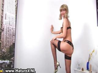 horny older housewife stripping part4