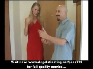 charming lovely blonde wife talking in the living