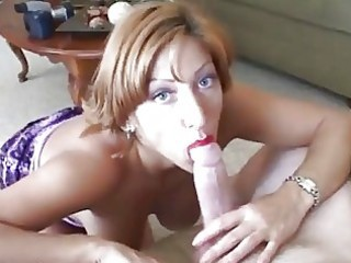 mature woman acquires a face load of cum
