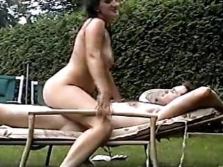 sexy older wife bonks spouse in backyard