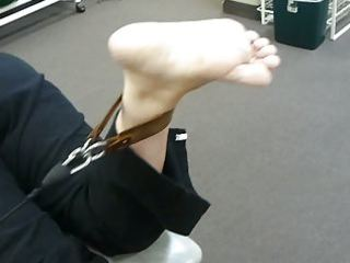 candid feet: older exercise