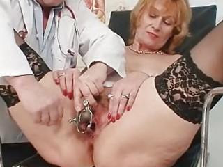 redhead granny dirty cunt stretching in gyn clini