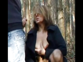 Cumshot on dirty mature outdoor by troc