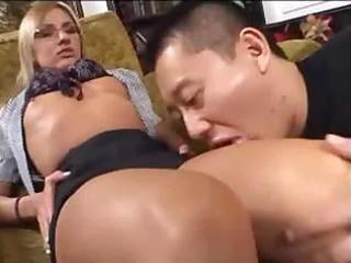 the oriental boy have a fun with the european milf