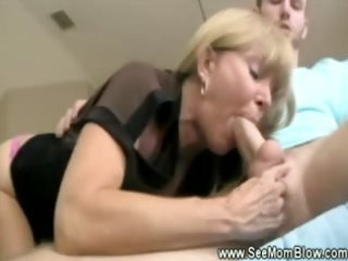 horny golden-haired older can slobbing on her