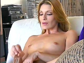 marvelous older cougar masturbates with sex tool
