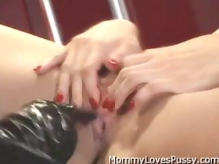 breasty blonde mistress fucks her flat chested