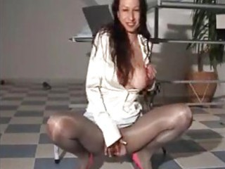 piddle satin milf in sexy shiny suit