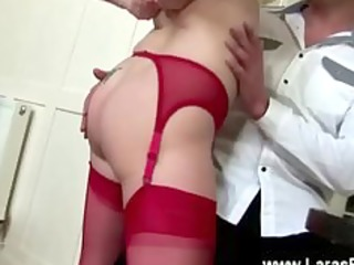 mature lady in stockings acquires spanked