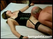fastened wife receives licked and filled with toy