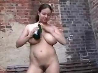 insane milf drinks up the champagne and then uses